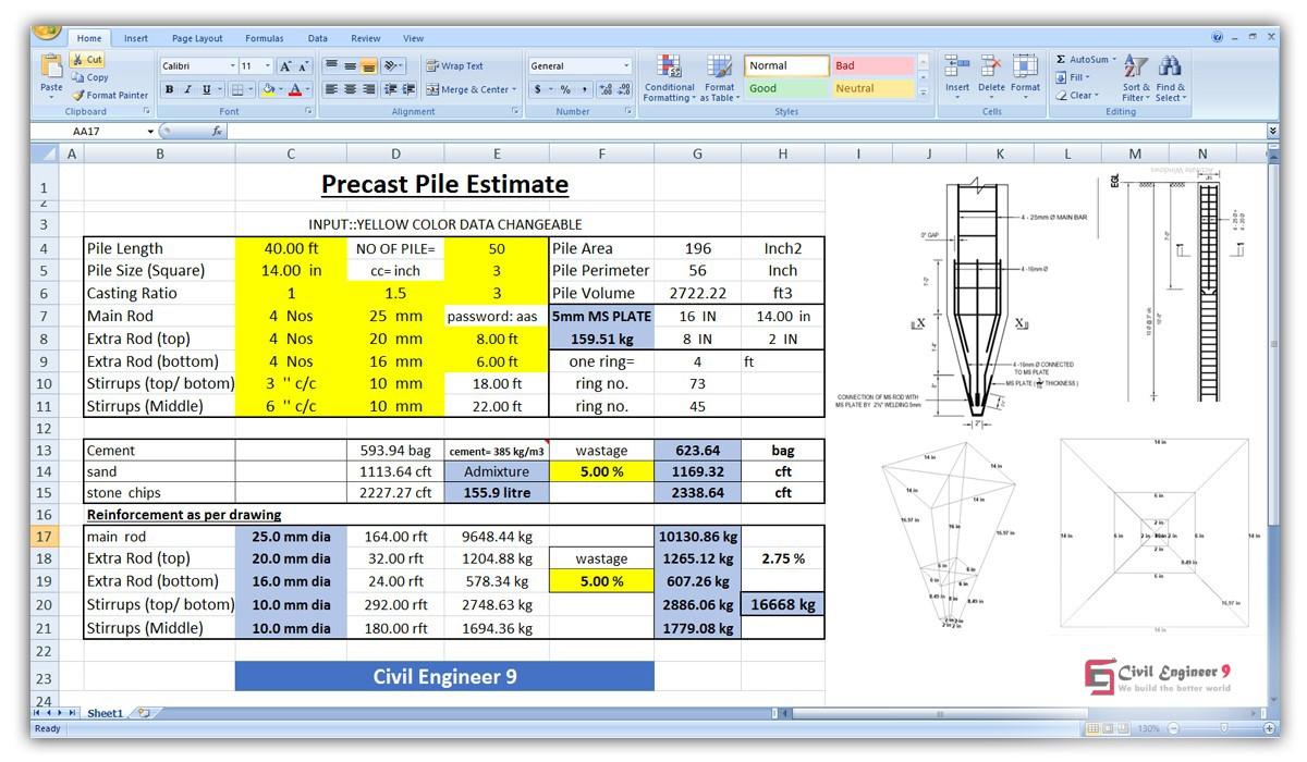 Precast pile estimating sheet